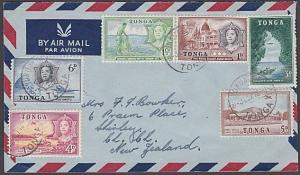 TONGA 1967 airmail cover to New Zealand - nice franking......................468