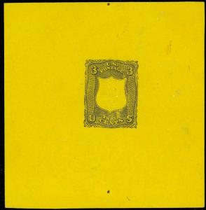 79-E18e, LARGE DIE GRILL ESSAY ON YELLOW WOVE XF-SUPERB