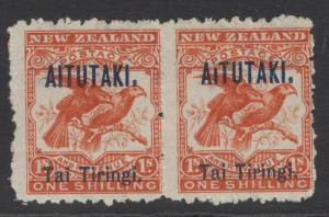 AITUTAKI SG7bvar 1903 1/- BRIGHT REDWITH BROKEN I IN AITUTAKI MTD MINT IN PAIR