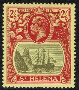 ST HELENA 1922 KGV SHIP 2/6 TORN FLAG VARIETY WMK MULTI CROWN CA