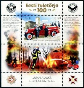 HERRICKSTAMP NEW ISSUES ESTONIA Sc.# 904 Fire Fighting Souvenir Sheet