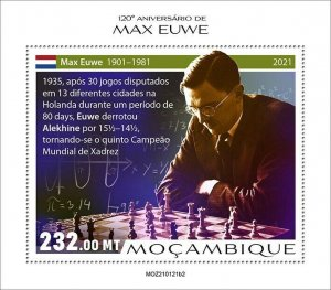Mozambique 2021 MNH Chess Stamps Max Euwe Dutch Player Games Sports 1v S/S II
