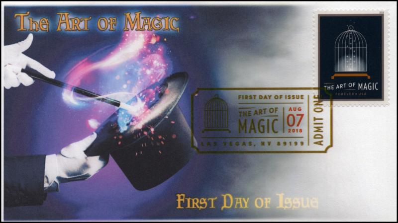 18-224, 2018, The Art of Magic, Digital Color Postmark, FDC, Cage