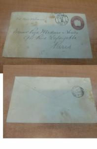 Costa Rica PSE 1891 10c to France, Foreign Mail Transit backstamp