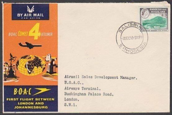RHODESIA NYASALAND 1959 BOAC First flight cover Salisbury to London.........N653