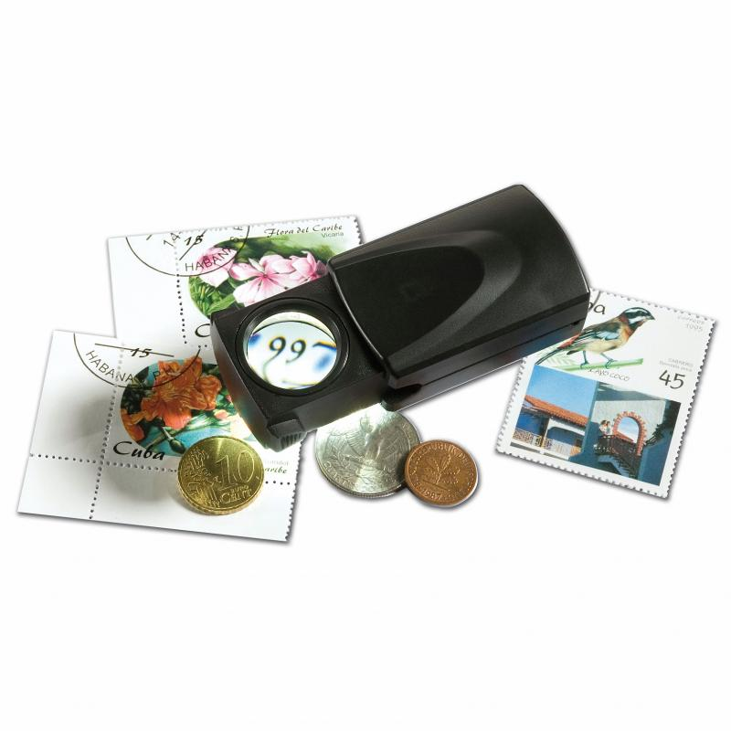 LED PULL-OUT MAGNIFIER 20X FOR STAMPS, COINS, BANKNOTES, HOBBIES, ETC.