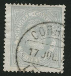 Portugal Scott 53 Bluish gray King Luiz 25 Reis CV $29 1880