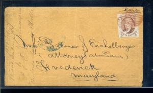 Scott #1 Franklin Used Stamp  on Nice Cover to Frederick Maryland (Stock 1-191)