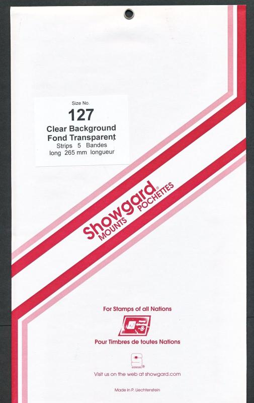 Showgard Stamp Mounts Size 127/264 CLEAR Background Pack of 5