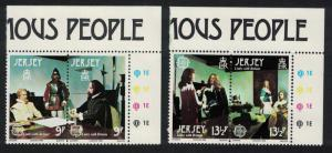 Jersey Europa CEPT 1980 Personalities Links with Britain 2 Top Corner pairs