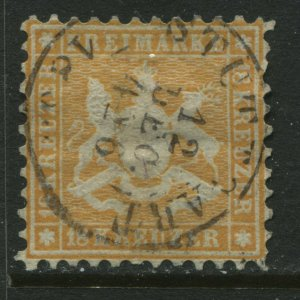 Wurttemburg 1863 18 kreuzers orange used