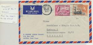 GOLD COAST TO GERMANY 1955 AIRMAIL COVER, 1sh3d RATE(SEE BELOW
