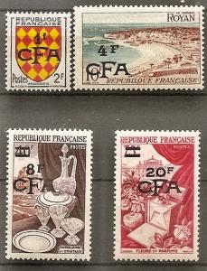 Reunion 301-4 Mint OG 1954 France Surcharges
