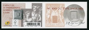 HERRICKSTAMP NEW ISSUES FRANCE Sc.# 5118a 140 Years Sage Type Stamps Booklet.