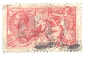 Great Britain Sc 180 1919 5/ G V & Seahorse stamp used