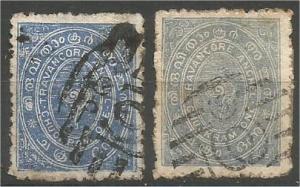 TRAVANCORE, INDIA, 1888-9, 1ch, Conch Shell, Scott 1 and 5