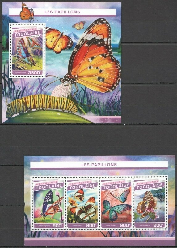 TG188 2016 TOGO FAUNA INSECTS BUTTERFLIES PAPILLONS KB+BL MNH
