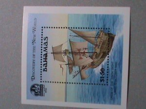 BAHAMAS STAMP: 1989 SC#667 DISCOVERY OF THE NEW WORLD MNH S/S SHEET-  VERY RARE