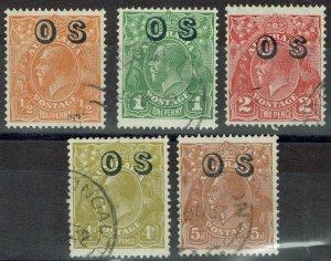 AUSTRALIA 1932 KGV OS RANGE TO 5D USED