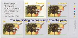 Canada - 1992 86c Bartlett Pear Single ex Booklet #1372a