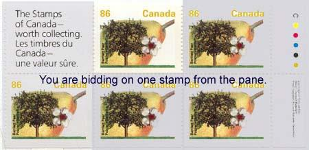 Canada - 1992 86c Bartlett Pear Single ex Booklet #1372a