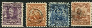 US Sc#302-304, 307 1903 3-5,10c F-VF & Especially Nice for These Used