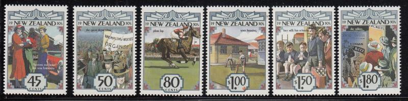 New Zealand 1993 MNH Scott #1145-#1150 The 1930s Fashion, The Depression, Pha...