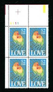 # 2537 Lovebirds 52¢ MNH Plate Block