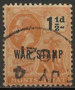 Montserrat War Tax 1918 Scott# MR3 Used (toning)