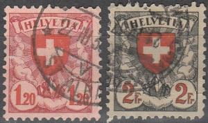 Switzerland #201a, 203a  F-VF Used CV $13.75 (C4806)