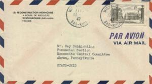 France 25F Stanislas Square at Nancy 1947 Wissembourg, Bas-Rhin Airmail to Me...