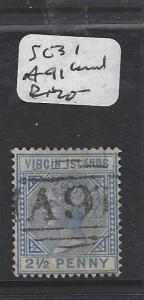VIRGIN ISLANDS (P2105B) QV  2 1/2D  SG 31  A91  CANCEL VFU
