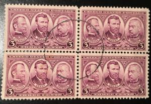 787, Grant & Generals, Army Navy Series, Circulated Block, Vic's Stamp Stash