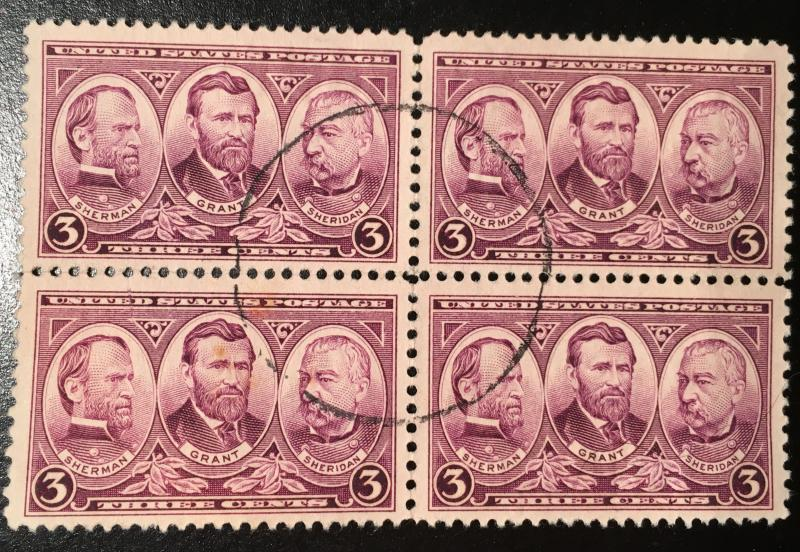 787, Grant & Generals, Army Navy Series, Circulated Block, Vic's Stamp Stash