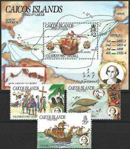 1984 Caicos Sailing Ships, Columbus, America compl. set+Sheet VF/MNH! CAT 24$
