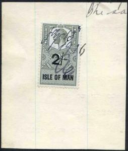 Isle of Man KGV 2/- Key Plate Type Revenues CDS on Piece