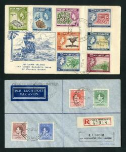 Papua - Pitcairn Islands 2x Covers Registered w/ numerous Stamps