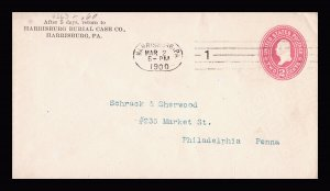 U363 HARRISBURG PA BARRY OVAL MACHINE CANCEL RETURN ADDRESS BURIAL CASE CO 1900