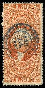 v4 U.S. Revenue Scott #R77c $1.30 Foreign Exchange, bold 1866 handstamp cancel