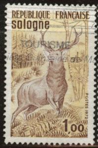 France Scott 1334 Used 1972 Red Deer stamp