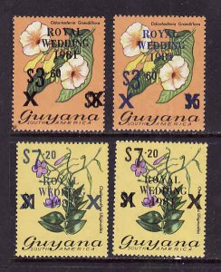 Guyana-Sc#334,334a,335,335a-four unused NH denominations-two overprinted with bl