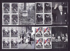 Gibraltar-Sc#1014-7-unused NH blocks-WWII-V-E Day-60th-Flags-Winston Churchill-2