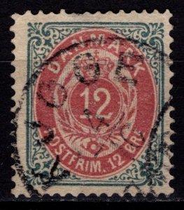 Denmark 1875-1903 Definitive, 12o brown-red / deeper grey inverted border [Used]