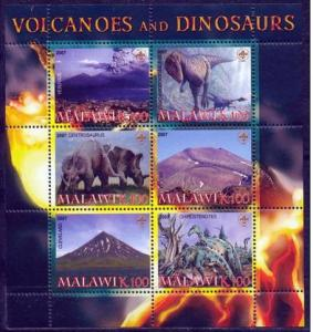 Malawi 2007 Volcanoes Dinosaurs Prehistorics Animals Nature M/S Stamps perf (2)