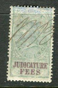 BRITAIN; 1870s early classic QV Revenue issue Judicature Fees 5s. value