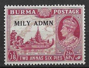 1945 Burma 42 MILY ADMN overprint 2A/6P MH