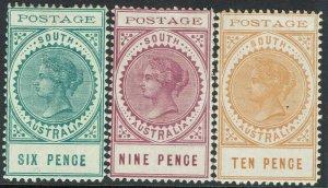 SOUTH AUSTRALIA 1902 QV THIN POSTAGE 6D 9D AND 10D
