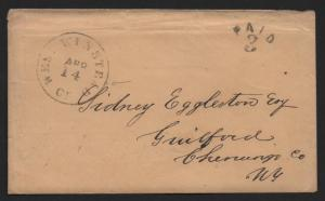 STAMPLESS US COVER April 14, 1855 West Winsted (Winstead) CT Error Arc PAID 3