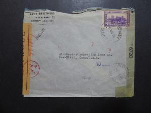 Lebanon 1944 French / American Censor Cover - Z10140