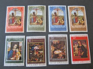 St. Kitts and Nevis 1972 Sc 249-52,253-6 Christmas Religion set MNH